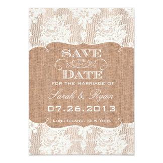 Rustic Burlap Print & Lace Save the Date 5x7 Paper Invitation Card