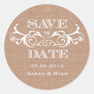 Rustic Burlap Print Save the Date Sticker