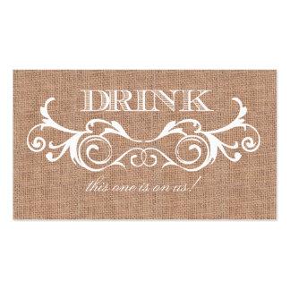 Rustic Burlap Print Wedding Drink Ticket Pack Of Standard Business Cards