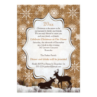 Rustic Burlap Snowflakes Deer Holiday Party Invite