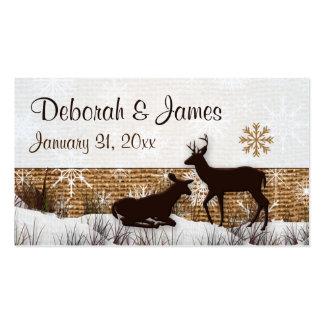 Rustic Burlap, Snowflakes & Deer Wedding Favor Tag Pack Of Standard Business Cards