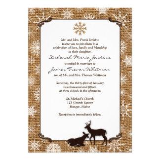 Rustic Burlap Snowflakes Deer Wedding Invite 2