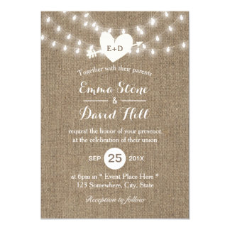 Rustic Burlap String Lights Arrow & Heart Wedding 13 Cm X 18 Cm Invitation Card