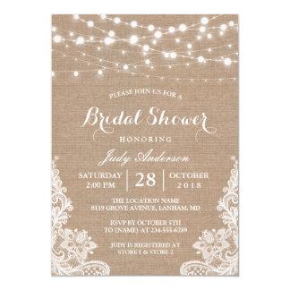 Rustic Burlap String Lights Lace Bridal Shower 13 Cm X 18 Cm Invitation Card