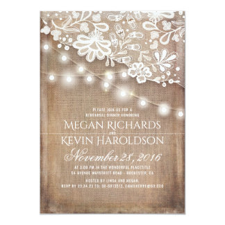 Rustic Burlap String Lights Lace Rehearsal Dinner Card