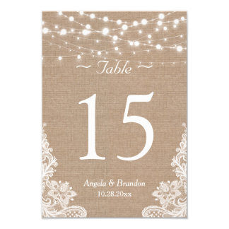 Rustic Burlap String Lights Lace Table Number