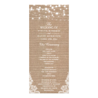 Rustic Burlap String Lights Lace Wedding Program Rack Card