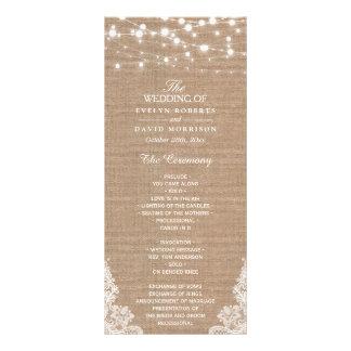 Rustic Burlap String Lights Lace Wedding Program Rack Card Design