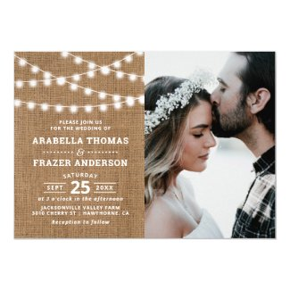 Rustic Burlap String Lights Photo Wedding Invitation