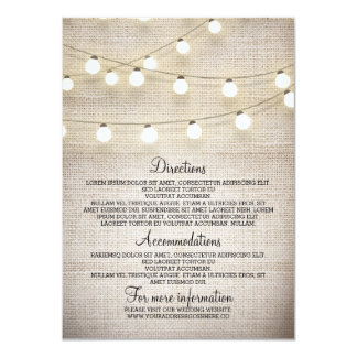 Rustic Burlap String Lights Wedding Details Card