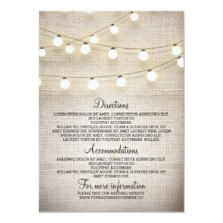Rustic Burlap String Lights Wedding Details Card 11 Cm X 16 Cm Invitation Card