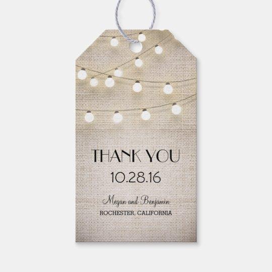 Rustic Burlap String Lights Wedding Gift Tags