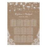 Rustic Burlap String Lights Wedding Seating Chart
