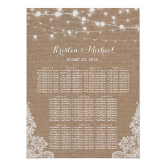Rustic Burlap String Lights Wedding Seating Chart Poster