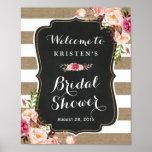 Rustic Burlap Stripes Floral Bridal Shower Sign