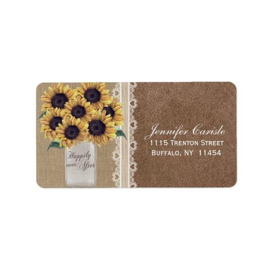 Rustic Burlap Sunflower Country Mason Jar Wedding Address Label
