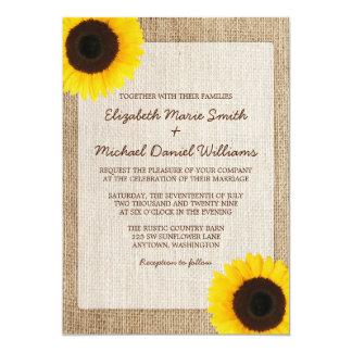Rustic Burlap Sunflower Wedding Invitations