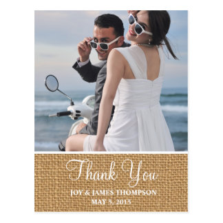 Rustic Burlap Thank You Wedding Postcards