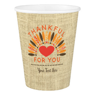 Rustic Burlap THANKFUL FOR YOU, Personalized Paper Cup