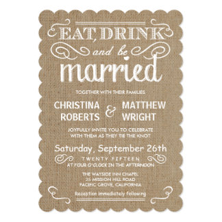 Rustic Burlap Traditional Tan Wedding Invitations