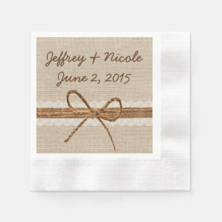 Rustic Burlap Twine Country Wedding Disposable Serviette