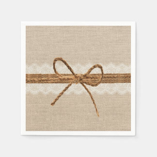 Rustic Burlap Twine Country Wedding Disposable Serviettes