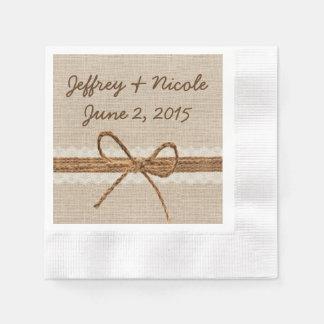 Rustic Burlap Twine Country Wedding Paper Napkin