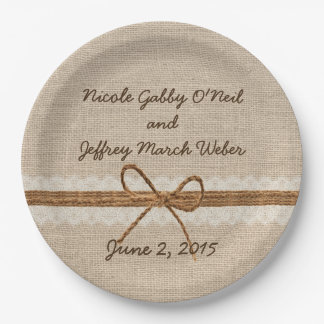 Rustic Burlap Twine Country Wedding Paper Plate