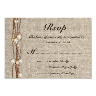 "Rustic Burlap Twine Pearls Wedding Invitation 3.5"" X 5"" Invitation Card"