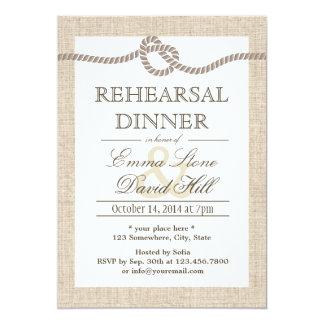 Rustic Burlap Tying the Knot Rehearsal Dinner 13 Cm X 18 Cm Invitation Card