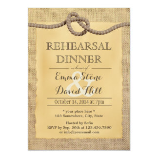 Rustic Burlap Tying the Knot Rehearsal Dinner Card