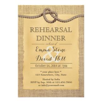 Rustic Burlap Tying the Knot Rehearsal Dinner Custom Invitation