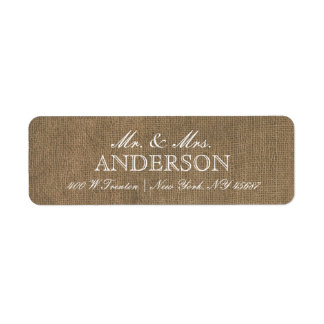 Rustic Burlap Typography Return Address Labels