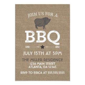Rustic Burlap Vintage BBQ Party Card