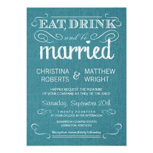 Rustic Burlap Vintage Blue Wedding Invitations