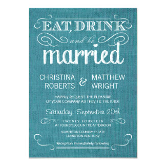 Rustic Burlap Vintage Blue Wedding Invitations