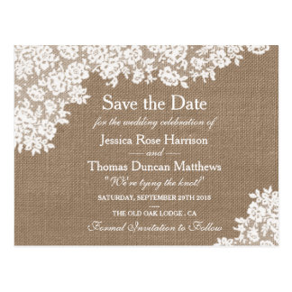 Rustic Burlap & Vintage Lace Wedding Save The Date Postcard