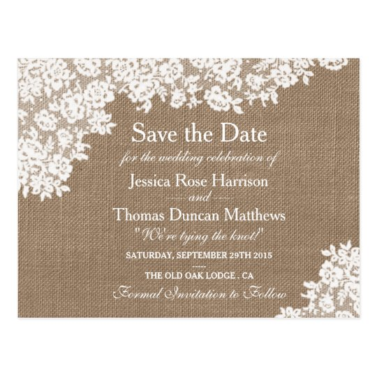 Save The Date Wedding Invitation Ornaments Save The Date: Rustic Burlap & Vintage Lace Wedding Save The Date