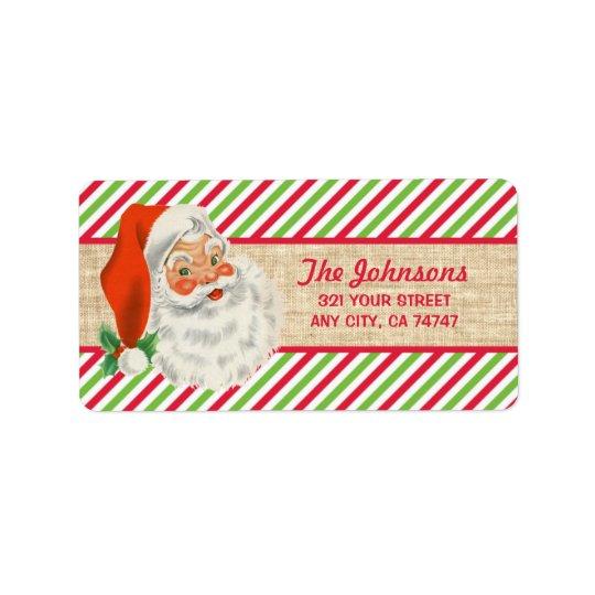 Rustic Burlap Vintage Santa Christmas Stripes Address Label