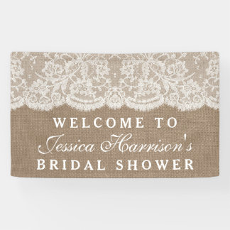Rustic Burlap & Vintage White Lace Bridal Shower Banner