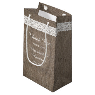 Rustic Burlap & Vintage White Lace Wedding Small Gift Bag