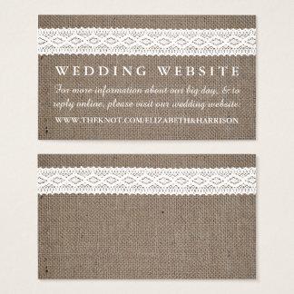 Rustic Burlap & Vintage White Lace Wedding Website
