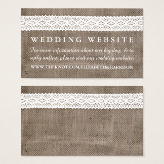 Rustic Burlap & Vintage White Lace Wedding Website Business Card