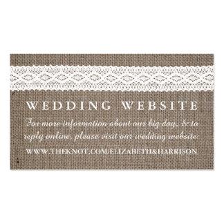 Rustic Burlap & Vintage White Lace Wedding Website Pack Of Standard Business Cards