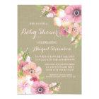 Rustic Burlap Watercolor Flowers Baby Shower Card