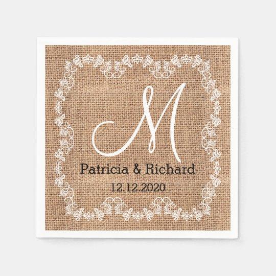 Rustic Burlap Wedding Monogram Disposable Napkin