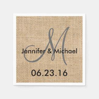 Rustic Burlap Wedding Monogram Names Date Disposable Serviette
