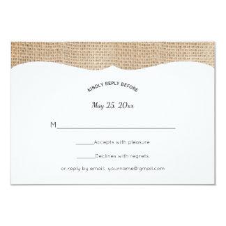 Rustic Burlap Wedding RSVP Card