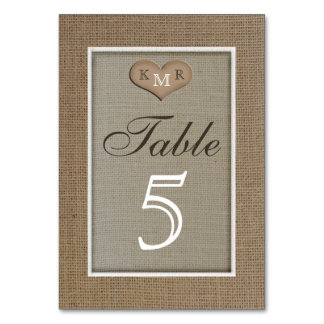 Rustic Burlap Wedding Table Numbers Cards