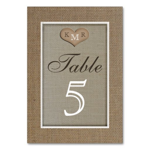 Rustic Burlap Wedding Table Numbers Cards Table Cards